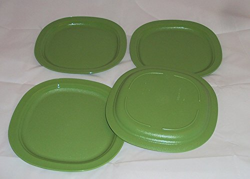 Tupperware Set of 4 Open House Microwave 7 3/4 Inch Dessert Plates Green