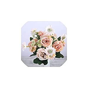 Liliy-luckly Fake Silk Roses Artificial Flowers Small Pink Bouquet for Wedding Home Birthday Decoration,Orange 76