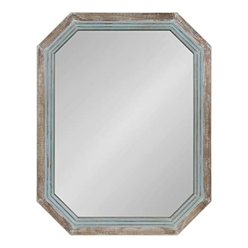 Kate and Laurel Palmer Large Rustic Farmhouse Wooden Octagon Wall Mirror, Distressed -