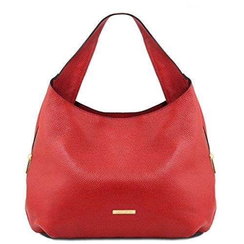 Tuscany Leather TL Bag Borsa hobo espandibile in pelle Cognac Rosso Lipstick