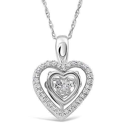- Diamond Heart Necklace Dancing Diamond in 10k White Gold - 1/5 cttw -18 Inch Rope Chain