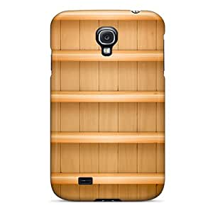 Fashion Tpu Case For Galaxy S4- Textured Light Wood Shelves V2 Defender Case Cover
