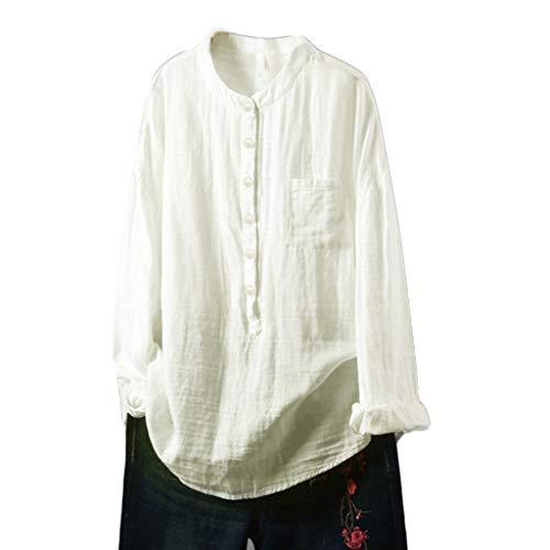 (Women's Cotton Linen Tops T-Shirt Casual Loose Long Sleeve Tunic Round Collar Button Down Shirts Blouse Beige)