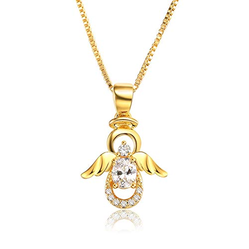 SKA Jewelry Angel Necklace for Girls Women White Cubic Zirconia Lovely Angel with Wings Pendant Chain Necklace Adjustable 20