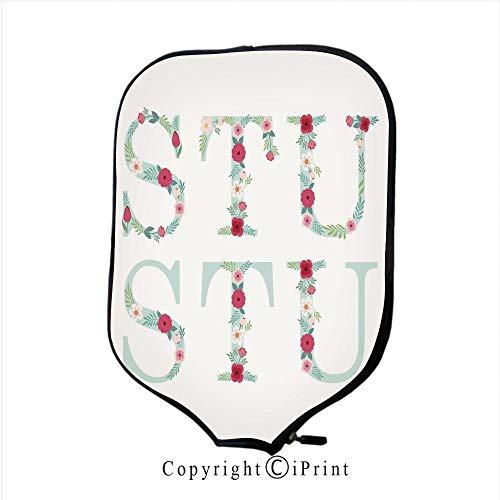 Neoprene Sports Pickleball Paddle Cover Sleeve,Cute Vintage Doodle Floral Cards Set(Size:8.23
