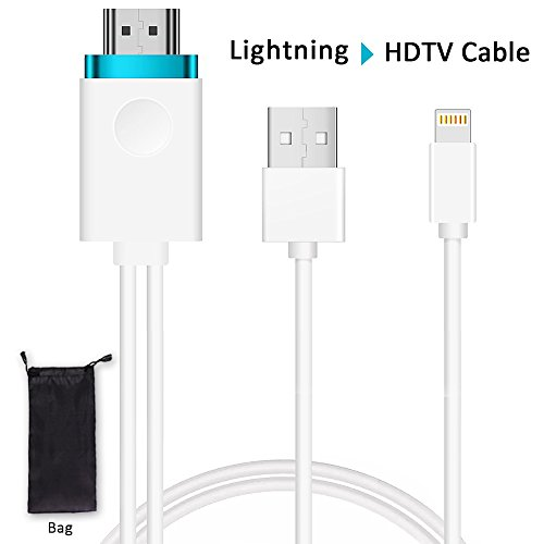 Lightning to HDMI Adapter Cable,Lightning Digital AV to HDMI Adapter,Anlyso iPhone to HDMI 6.6ft iPhone HDMI Adapter Cord Support 1080P HDTV for iPhone X/8/7/6/5 Series, Pad Air/mini/Pro, iPod to TV