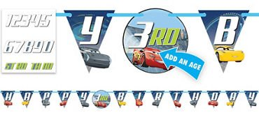 Cars 3 Birthday Jumbo Add-An-Age Letter Banner