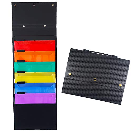 Plastic Expanding Accordion Folders with Handle - 6 Pockets Hanging File Folder Organizer,A4 Letter Size Portable Document Holder, Perfect for Home Organization,School Pocket Chart,Office Bill Filling