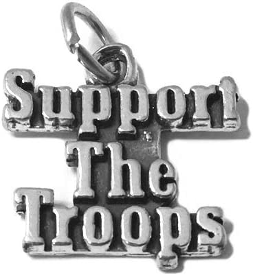 Military Silver Charms Support Our Troops Sterling Silver Army Charm Bulk Charms Army Charms Charm for Charm Bracelet CM008PA