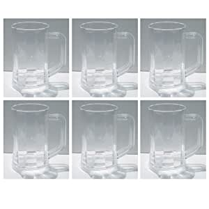 Clear Plastic Beer Mugs Set of 6 Steins Glasses 16 oz Glass Cup Beer Drink Party