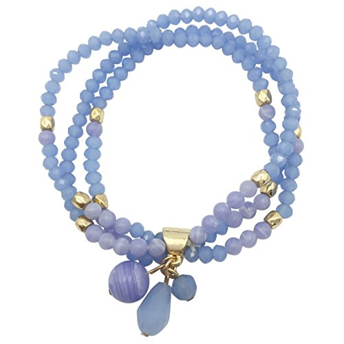 3 Row Glass & Natural Stone Beaded Gold Tone Stretch Bracelet (Light Blue) (Slices Light Crystal Single)