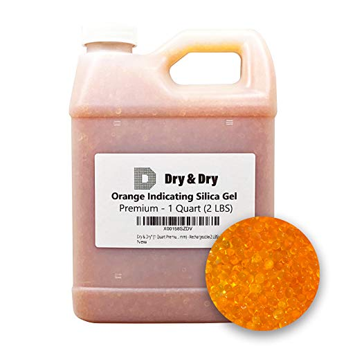 Dry & Dry [1 Quart] Premium Orange Indicating Silica Gel Desiccant Beads(Industry Standard 2-4 mm) - Rechargeable Silica Gel Beads(2 LBS)