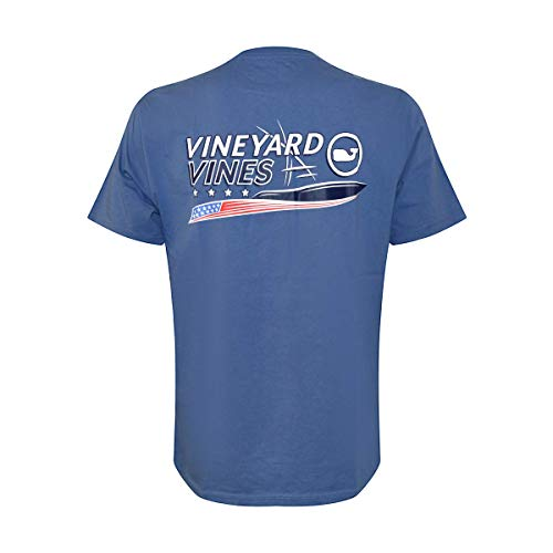 Vineyard Vines Men's Short Sleeve Graphic Pocket T-Shirt (Moonshine American Sport Fisher, X-Small)