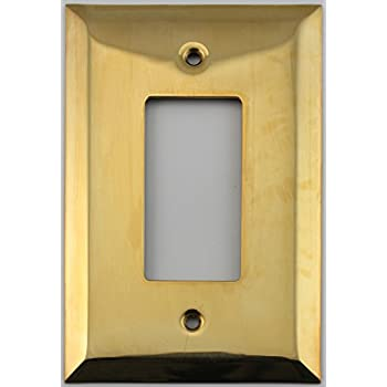 Jumbo Stamped Unlacquered Brass One Gang GFI/Rocker Opening Wall Plate