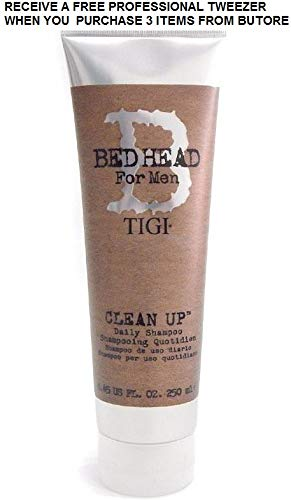 Bed Head For Men Charge Up Shampoo 8.45oz (2 Pack)+FREE PROFESSIONAL TWEEZER