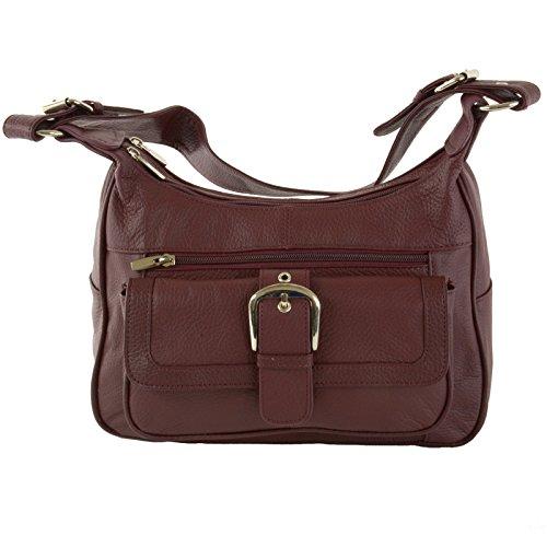 - Womens Genuine Leather Shoulder Bag Tote Organizer Purse Hobo Handbag Burgundy