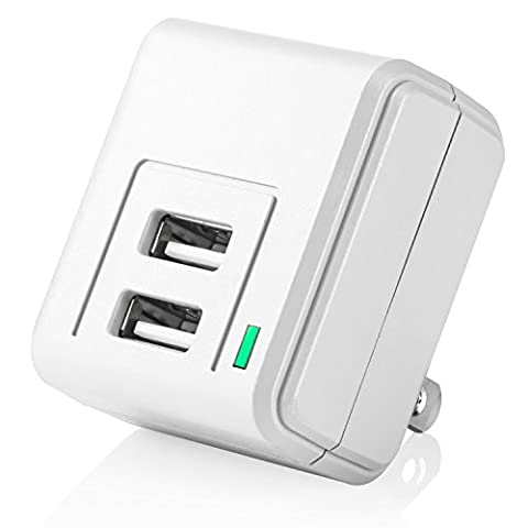 Yubi Power Wall Tap With Two USB Ports Dual USB Wall Charger - White (Cargador Palm)
