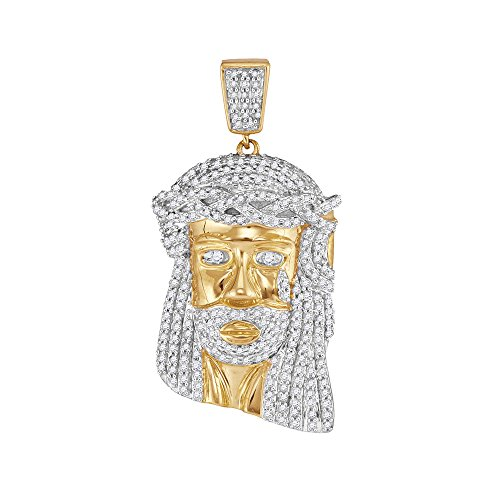 Roy Rose Jewelry 10K Yellow Gold Mens Round Diamond Jesus Christ Messiah Head Charm Pendant 7/8-Carat ()