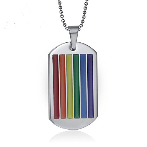 Amkaka Stainless Steel Rainbow Gay Lesbian Pride Square Dog Tag Pendant LGBT Necklace -