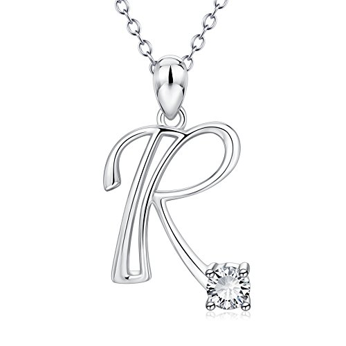 (YFN Initial Necklace Sterling Silver Letter R Alphabet Pendant Necklace Jewelry for Women Teen Girls)