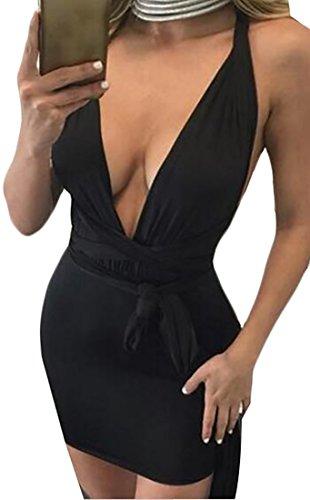 Donne Bodycon Partito Mini Vestito Nero Night Alion Sexy Club dpw0I6xdqT