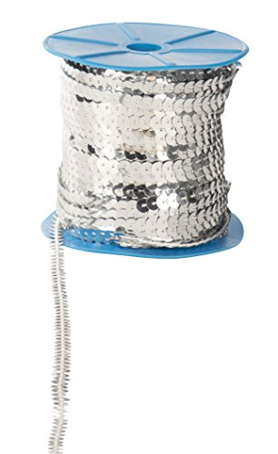 Paillettes Sequins Roll - 6mm Flat Sequin Trim, Sequin String Ribbon Roll for Crafts, DIY Projects, Embellishments, Costume Accessories, Silver, 100 Yards