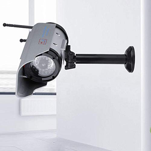 Solar Power Dummy Camera, Outdoor Fake Security Home CCTV Adjustable Camera LED Light Waterproof
