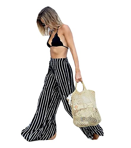 Bestyou® Women's High Split Stripe Beach Pants Cover Up Swimwear Beachwear US Size XS-M (Stripe)