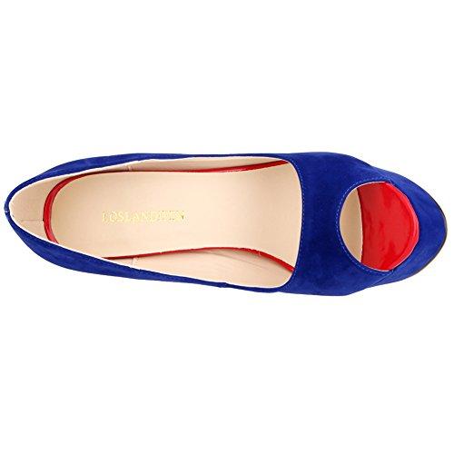Loslandifen Femmes Élégant Peep Toe Verni Pu Cuir Plate-forme Stiletto Haut Talon Chaussures Bleu Velours