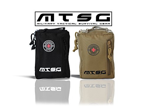 MTSG Military Tactical Survival Gear First Aid Kit for Emergency, Camping, Hunting, Hiking, Sports, Home, Car, School, Office, Travel (Black)