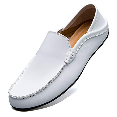 Premium Casual Shoes - MCICI Mens Loafers Moccasin Driving Shoes Premium Genuine Leather Casual Slip On Flats Fashion Slipper Breathable Big Size,White,US11