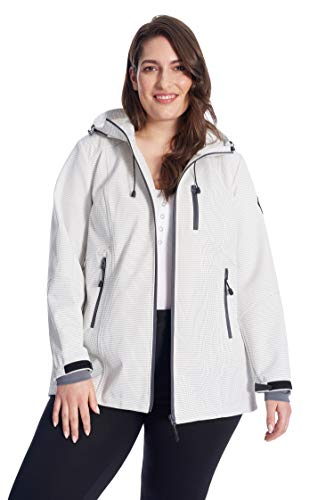 Alpine North Women's Softshell Jacket Plus Size | Lightweight Fleece Lined-Coat | 2X, Cream/Dot