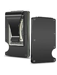 CoWalkers Carteras para hombres, delgado y minimalista, billetera de aluminio minimalista con clip de dinero Cartera delgada RFID bloqueo (Negro)