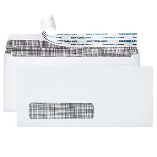 # 10 Single Window Self Sealing Security Envelopes ~ 500 Invoice & Statement Size Envelopes with Peel & Seal Adhesive + Tinted Interior for Privacy Protection ~ 4-1/8