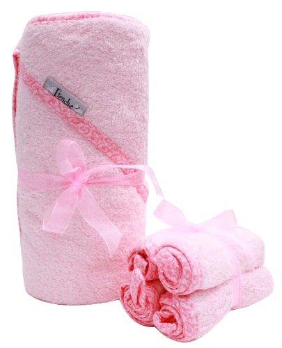 """40 """"x30"""" serviette absorbante capuche et 4 Débarbouillette Set, Pink, Frenchie Mini Couture"""
