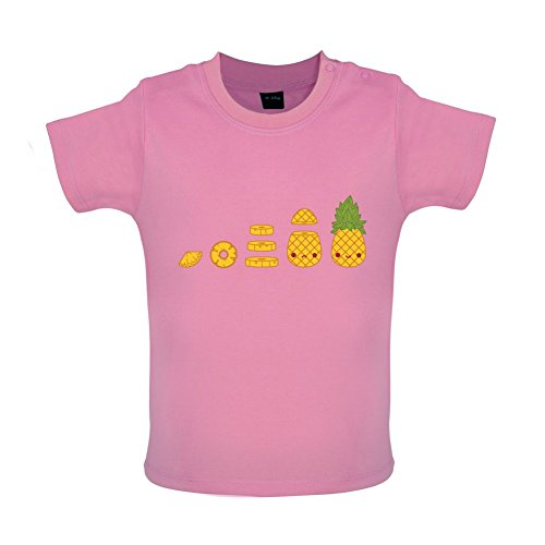Evolution Of Pineapple - Baby T-Shirt - Bubble Gum Pink-3-6M