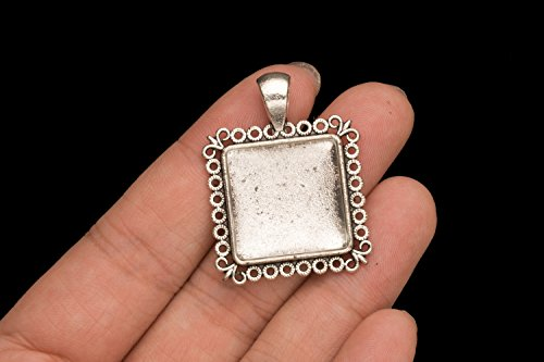 picture frame locket square silver picture pendant bezel cabochon 6 counts