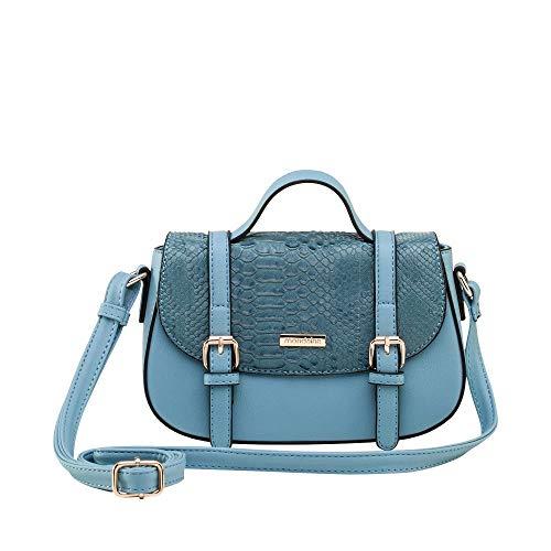 Bolsa Pequena Transversal Azul Texturizada