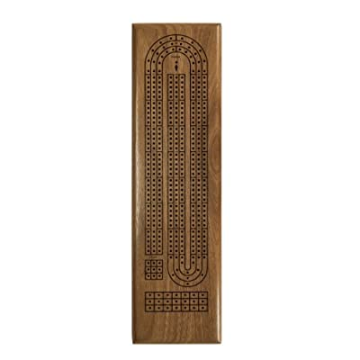 Solid Walnut Wood Classic Cribbage Set of Continuous 3 Track Board with Metal Pegs