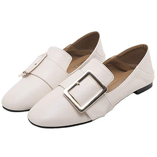 FLYRCX Los Zapatos Ocasionales del Trabajo de Oficina de Las señoras de los Zapatos Ocasionales de la Primavera y del otoño Calzan los Zapatos Planos Antideslizantes cómodos, 35 UE 39 EU