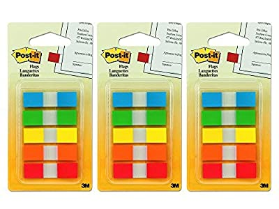 Set of 3 Post-it Flags with On-The-Go Dispenser, Assorted Primary Colors, 1/2-Inch Wide, 100/Dispenser, 1-Dispenser/Pack Bundled by Maven Gifts