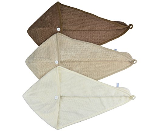 HOPESHINE Women's Soft Shower Hair Drying Towels Twist Hair Turban Wrap Drying Cap Great Gift for Women (3-Pack,Brown+Khaki+Off White) by HOPESHINE