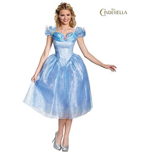 Disguise Women's Cinderella Movie Adult Deluxe Costume, Blue, Medium ()
