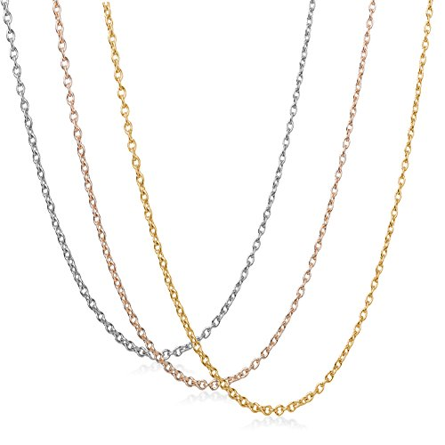 Exweup 3Pcs 1.5mm Cable Chain Gold Plated、Rose Gold Plated and Silver Plated Necklace DIY Chain 14-36inch