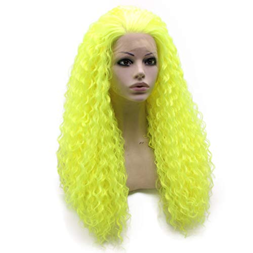 Eazazy Long Curly Lace Front Synthetic Hair Yellow Cosplay Party Wig Heat Resistant Fiber]()