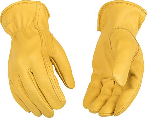 - Kinco 90-M-1 Full Premium Grain Deerskin, Easy-On Cuff with Elastic Wrist, Ergonomic Keystone Thumb, Turned Leather Hem, Size: M
