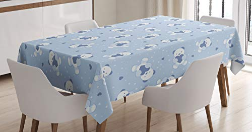 (Ambesonne Nursery Tablecloth, Teddy Bears Blue Backdrop Holding Hearts Baby Shower Theme Toddler, Dining Room Kitchen Rectangular Table Cover, 60 W X 84 L Inches, Cadet Blue Baby Blue White)