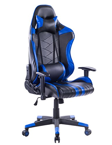 Multi Tilt Ergonomic Chair (Killbee Large Size PVC Ergonomic Reclining Racing Chair Executive Office Chair with Headrest and Lumbar Support (Blue))