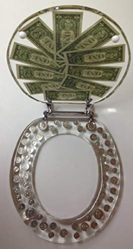 REAL U.S. DOLLARS & COINS MONEY LUCITE RESIN TOILET SEAT (Elongated) by POP VIEW (Image #2)
