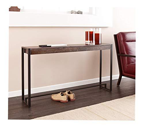 (Sоuthеrn Еntеrprisеs Office Home Furniture Premium Macen Media Console Table, Burnt Oak with White Grain Finish)